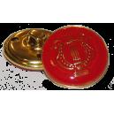 Bouton Lyre OR sur fond ROUGE, 21mm
