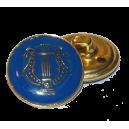 Bouton Lyre OR sur fond BLEU, 21mm